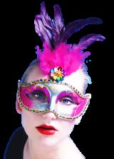 Maska - Srebrna/Fuksija s perjem