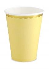 Papirnate čaše žute sa zlatnim rubom
