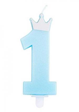 Svjećica plava broj 1 s krunom